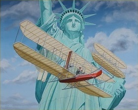 Wilbur Wright Greets Lady Liberty